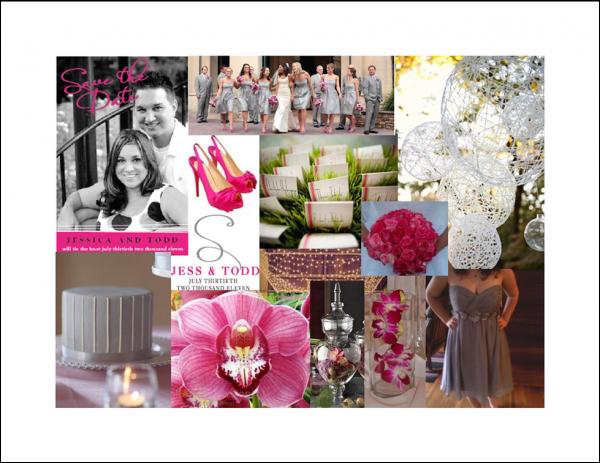 Grey & Hot Pink Inspiration Board