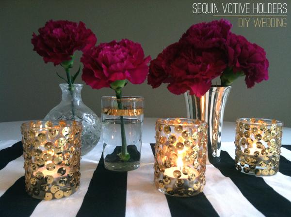 Sequin Glass Votive Holders by Stockroom Vintage