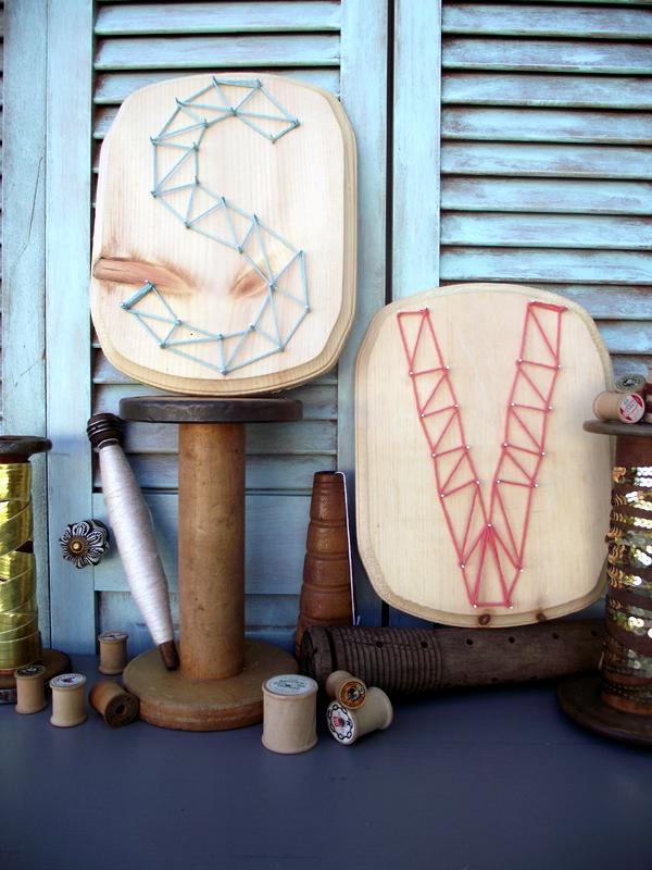 Yarn + Nail Initial Monogrammed Plaques DIY by Stockroom Vintage