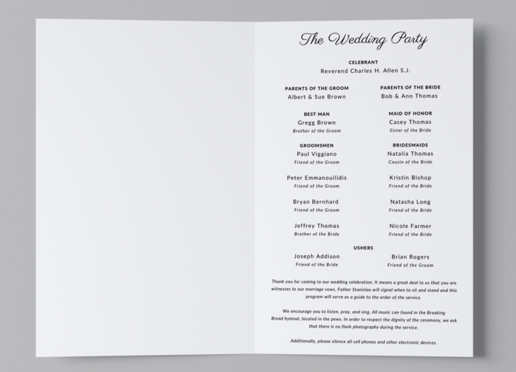 Free Catholic Wedding Program Template - Wedding Party page