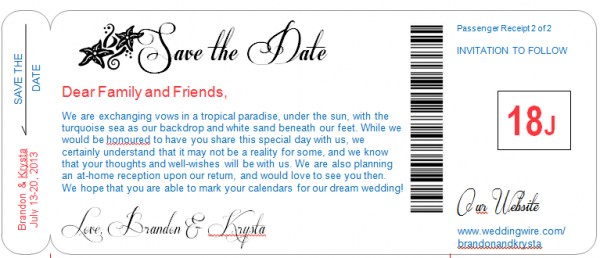 boarding pass save-the-date