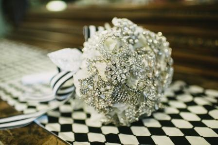 My favorite project -- my bouquet made of heirloom brooches from family and friends.