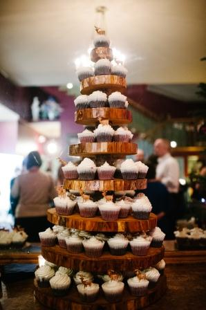 My father-in-law and his buddies made us this eight-tier cupcake tree. The cupcakes were red velvet and chocolate cake with peppermint icing.