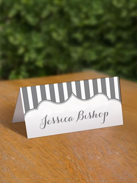 Free Grey Stripe Printable Place Cards