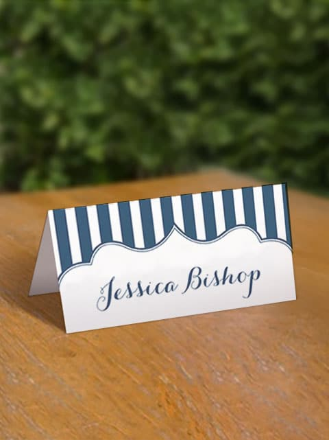 Free Navy Stripe Printable Place Cards