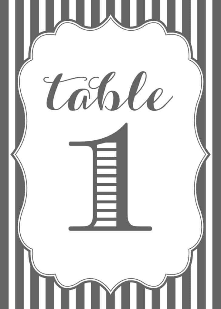 Grey Stripe Printable Table Numbers