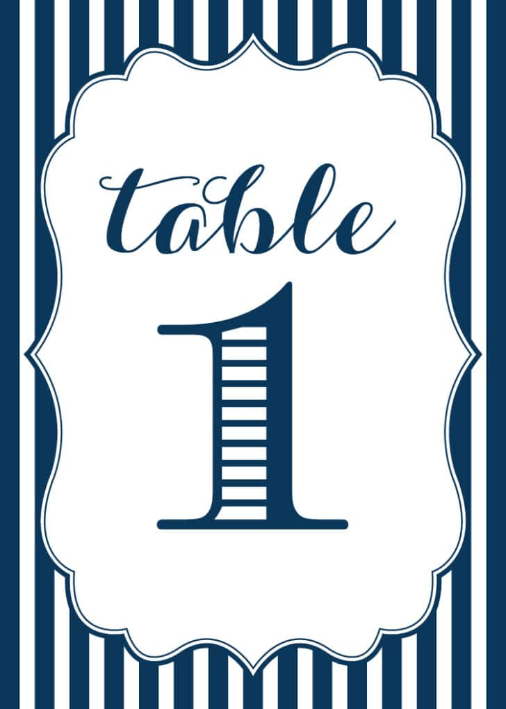 FREE Navy Stripe Printable Table Numbers