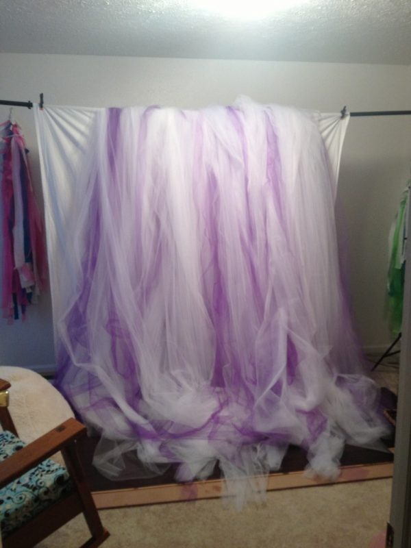 The MONSTER Wall of Tulle ... all wrapped up and draped in the studio for now -- Photo Credit - my iPhone
