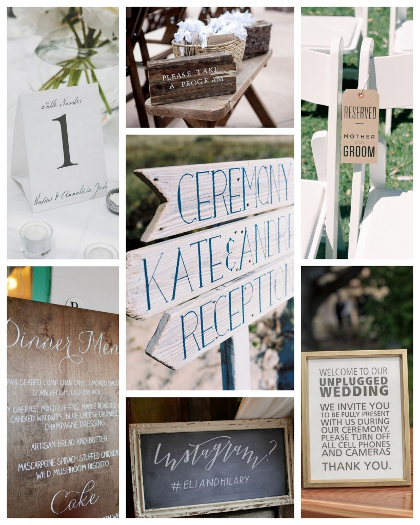 Wedding signage - different examples of this important wedding detail