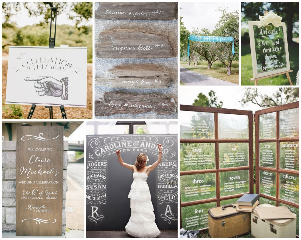 Wedding signage -- different ideas for how to display important wedding info