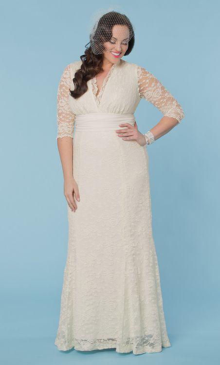 beautiful plus size lace wedding dress