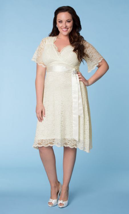 bell sleeve short lace plus size dress
