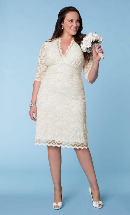 short scalloped lace plus size wedding dress