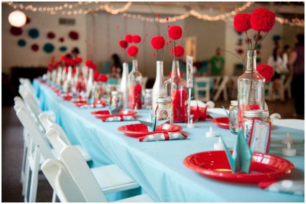 red and aqua wedding details