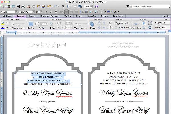 free printable die cut wedding invitation add your text