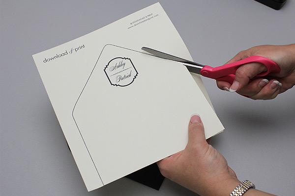 diy wedding envelope liner with monogram