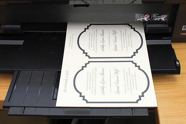 print the free printable die cut wedding invitation