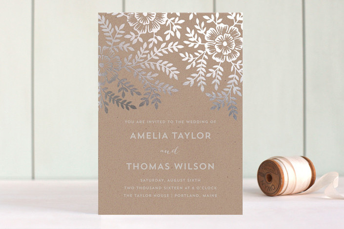 minted - lovely rustic chic wedding invitation