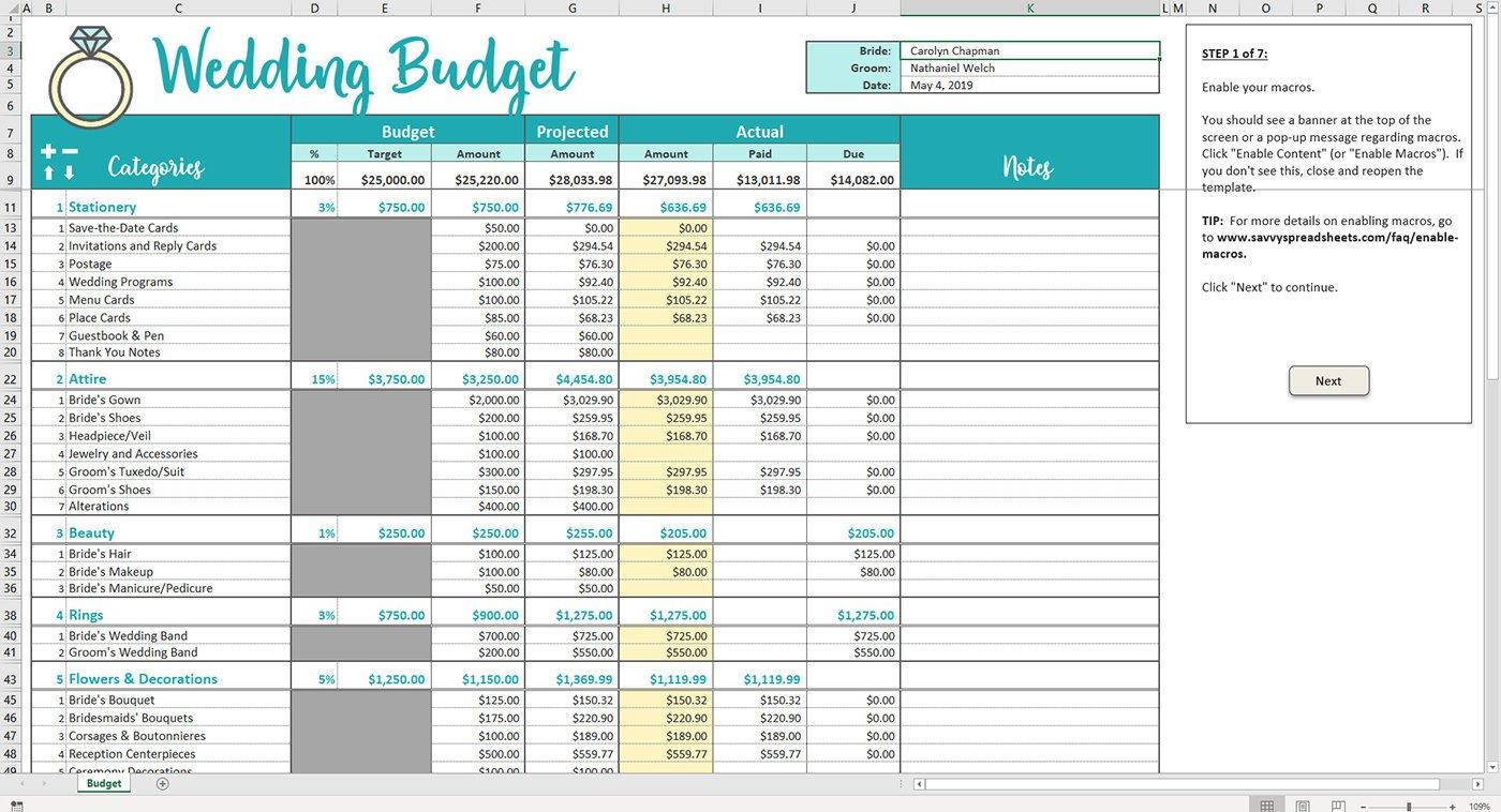 Savvy Spreadsheets Wedding Budget Spreadsheets