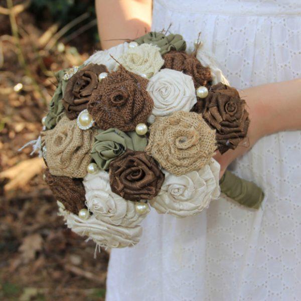 burlap wedding bouquet - etsy