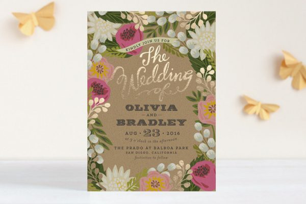 foil printed floral wedding invitations