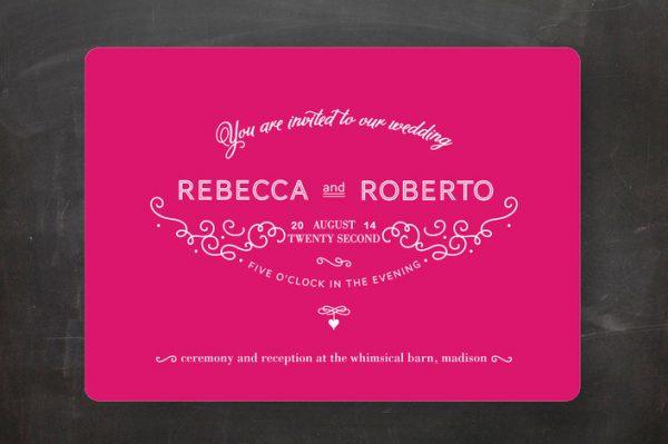 hot pink wedding invitations
