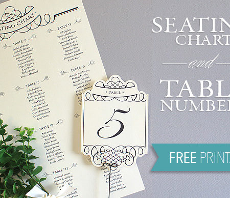 Printable seating chart and table numbers
