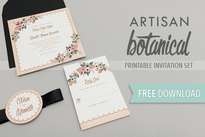 Download this free delicate floral wedding invitation suite and create gorgeous invitations at home. The scalloped edge and floral spray was inspired by a vintage handkerchief.