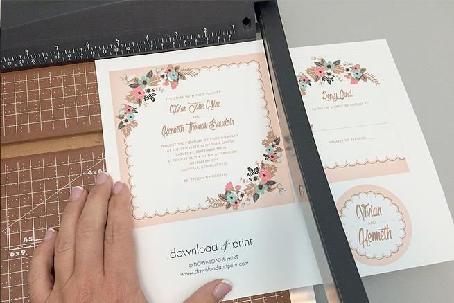 Trim free delicate floral printable wedding invitation suite