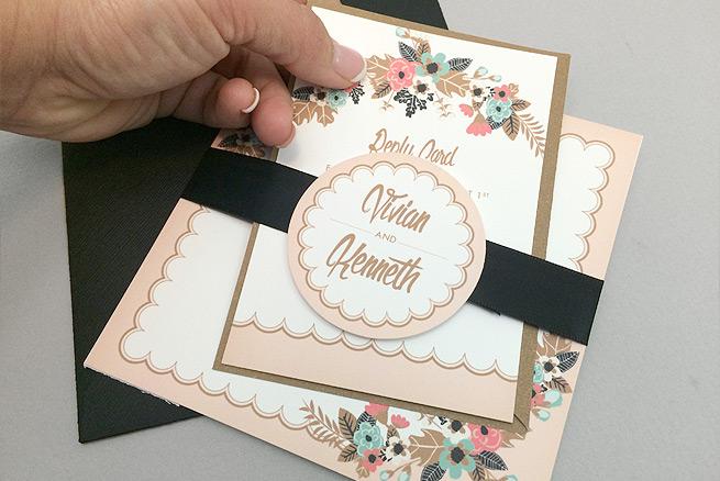 Free delicate floral printable wedding invitation suite