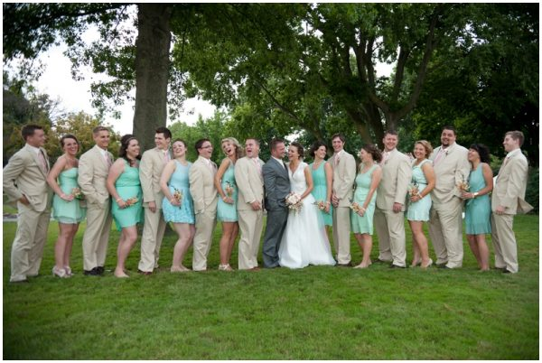 mint and khaki bridal party