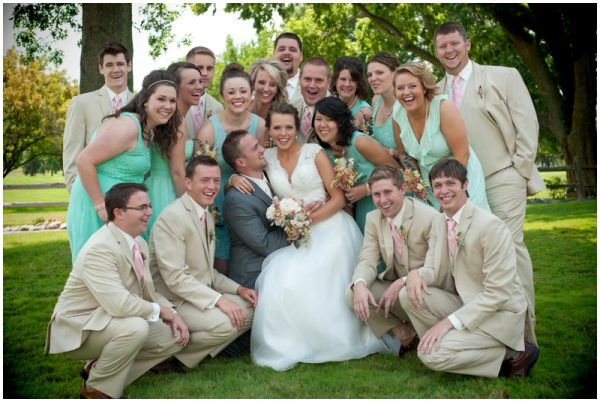 mint and khaki wedding party