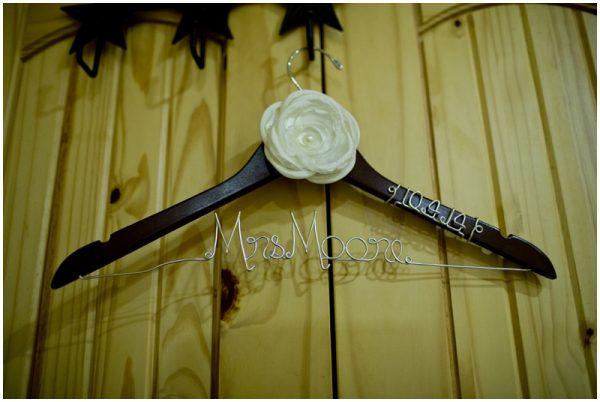rustic custom wedding dress hanger