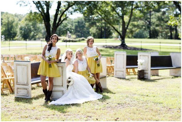 yellow bridesmaids dresses rustic wedding