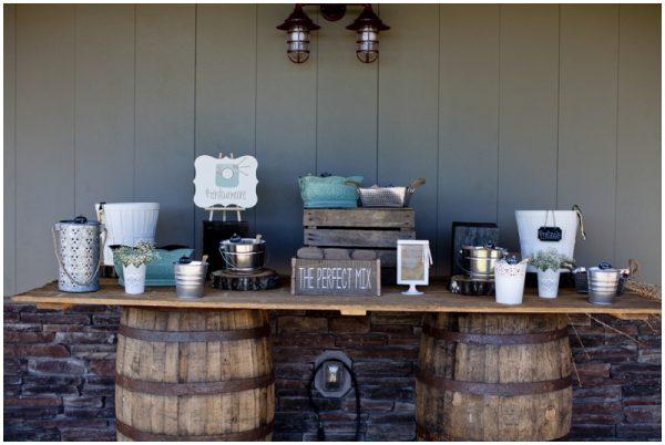 trail mix bar for rustic wedding