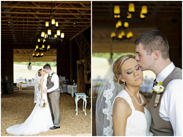 bride and groom in a barn