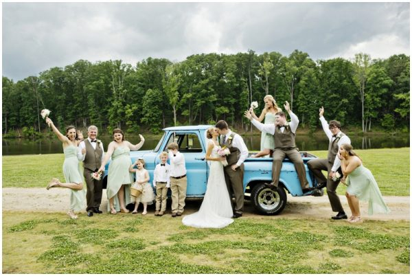 wedding party on an old pickup truck