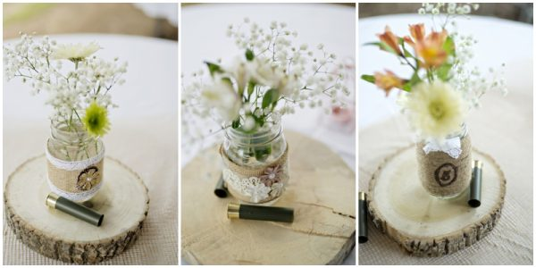 rustic centerpieces - wood rounds, mason jars, babys breath