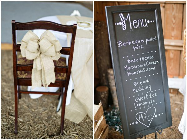 rustic wedding details - burlap sash and chalkboard menu