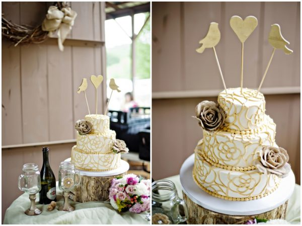 rustic wedding cake - lovebird cake topper