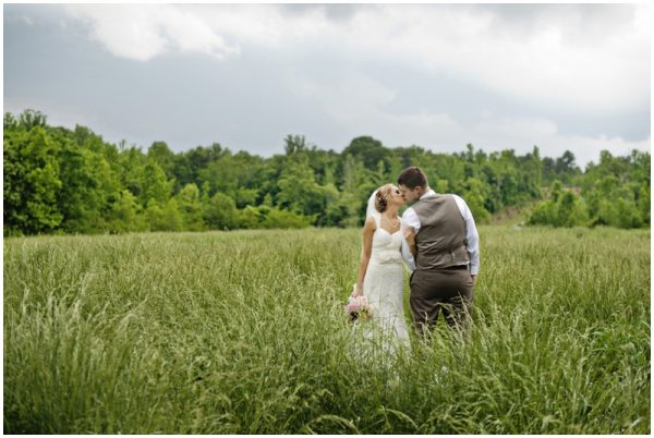southern wedding - bride and groom portraits in a field
