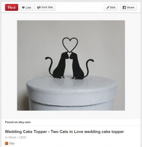 I love fun cake toppers and cats, so this cake topper from Plasticsmith on Etsy is purrfect!