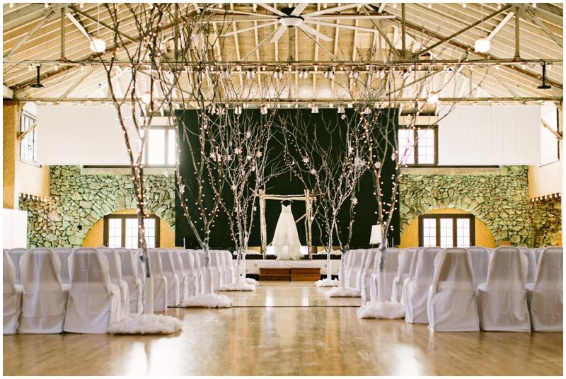 winter wedding dress / ceremony setup