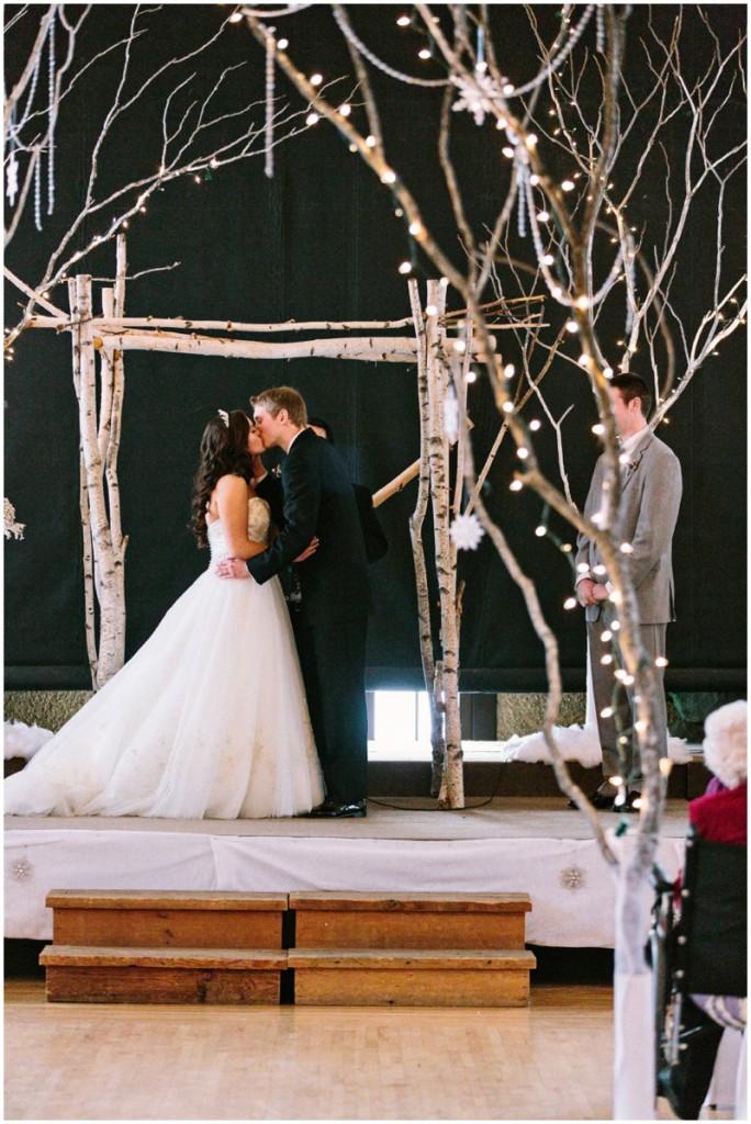 magical DIY winter wedding first kiss