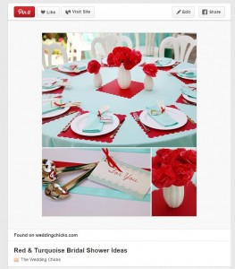 My wedding colors are red and aqua, so sometimes i like to stare at this table scape for inspiration