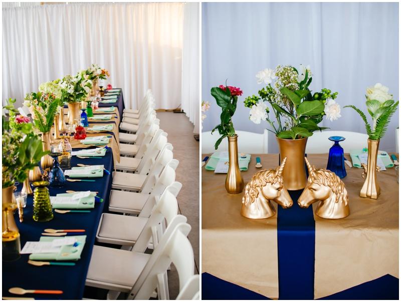 amazing wedding reception setup - gold unicorns!!