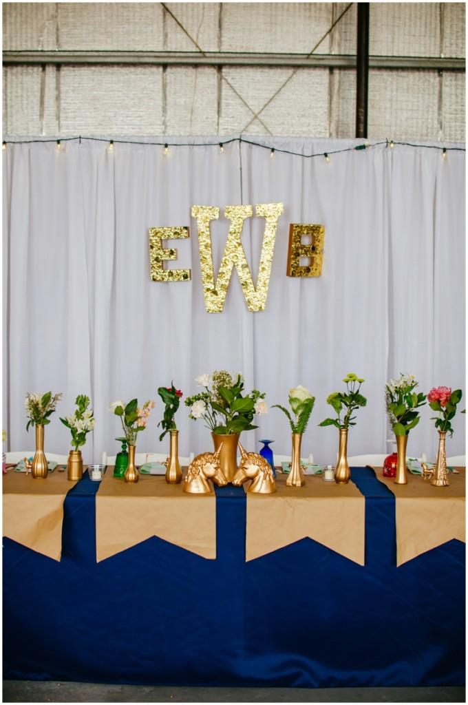 gold, glitter, unicorn, kate spade wedding!!!