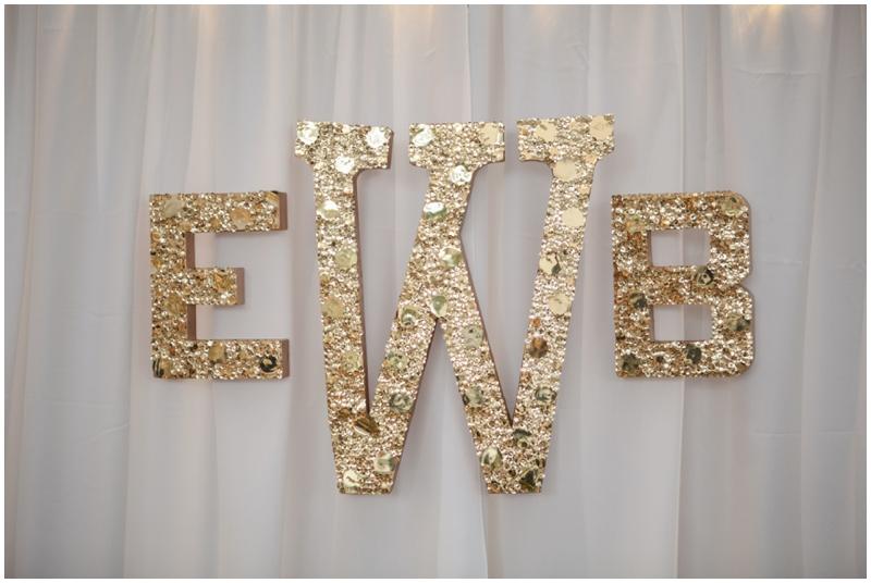 gold glitter wedding monogram