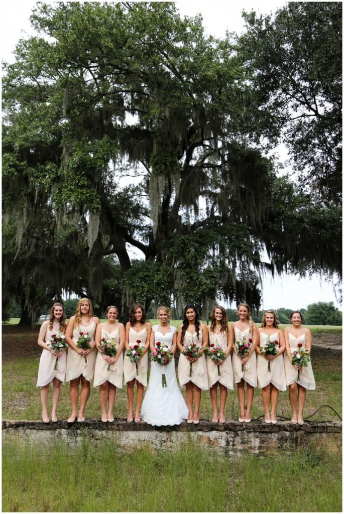 pale peach bridesmaids