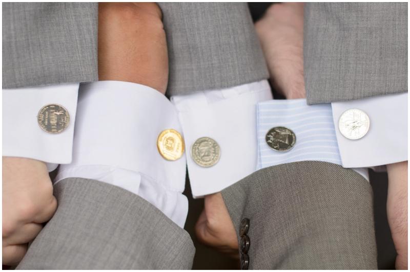 Custom coin cufflinks from each groomsmen's home state. Such a fun idea!